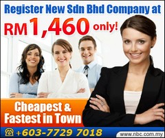 Register New Sdn Bhd Company at RM1,460 only! Call us now!